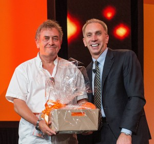 Brian Preece of BCP accepting prize from Andy Zupsic, SVP, Global Field Operations, Progress Software Corporation