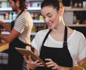 Customer ordering online using tablet